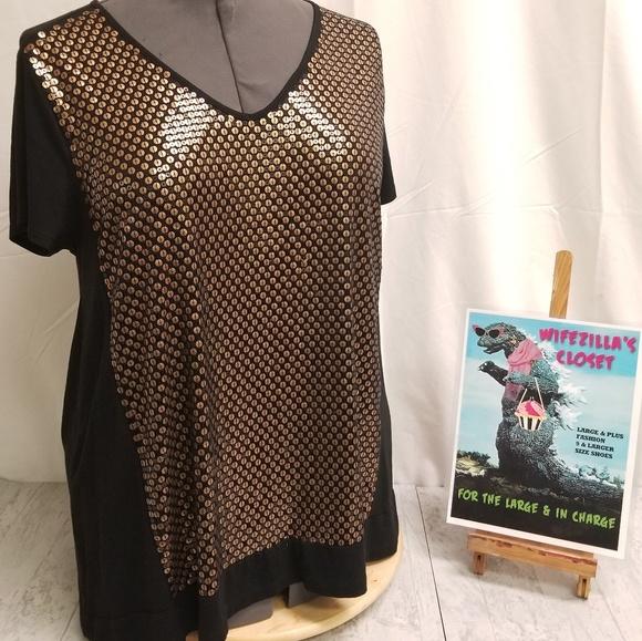Chico's Tops - Chico's Black w/ Bronze Color Sequins Size 2 Top